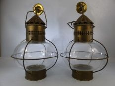 Pair of brass, onion-shaped, ship style lanterns. Height of each approx. 42cm