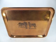 Copper tray with zebra imprint