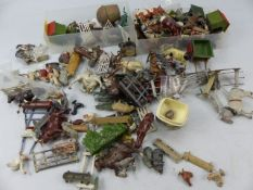Selection of Britains lead farm and zoo animals, farm implements and figures.