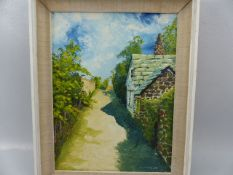 Oil on board of a summery country lane scene signed bottom right CHAMBERLAIN