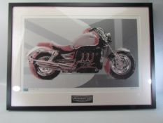 Triumph Motorcycle: Limited Edition Silk Screen Print entitled Rocket III 183/500 by Andreas