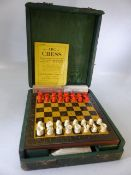 Leather cased compendium of games to include Bridge, drafts and chess