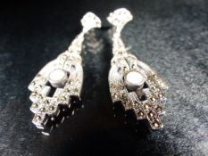 Pair of silver and marcasite art deco style drop earrings with opal panels