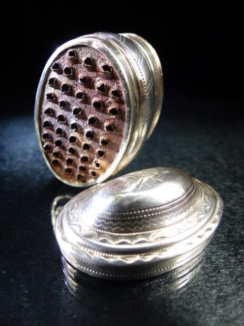 Lot 6 - George III Hallmarked Silver Nutmeg Grater, Birmingham 1801 by maker Joseph Taylor