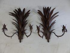 Pair of ornate metal palm leaf wall sconces