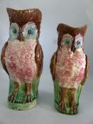Two Majolica pitchers in the form of owls, one approx 28cm in height, the other approx. 25cm