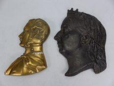 Cast bust of Queen Victoria & a Brass bust of Prince Albert