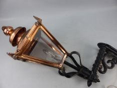 Copper street lamp on iron bracket converted for electricity