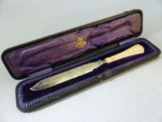 Hallmarked Silver serving knife by Cooper Brothers & Sons Ltd and sold by Breton & Sons Cork Ireland
