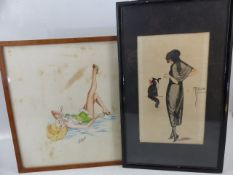 Pair of Art Deco Watercolours of Ladies