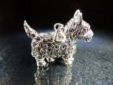Silver and marcasite set dog brooch