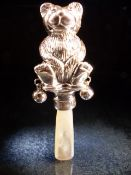 Sterling silver and mother of pearl babies rattle