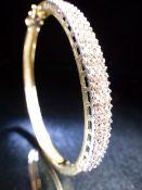 14ct white gold diamond three row pave set diamond hinged bangle