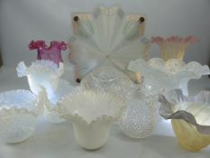 Collection of eleven vintage glass lampshades, three opalescent