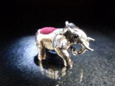 Silver elephant figure pincushion