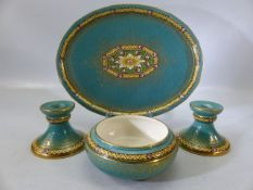 Mintons oval tray, candle sticks and bowl
