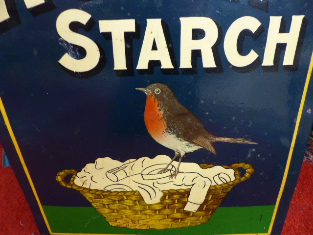 Lot 395 - AN ENAMEL ADVERTISING SIGN, ROBIN STARCH, white lettering on blue and green background with image of