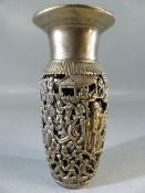 Chinese silver vase with pierced decoration depicting Chinese figures and blossom