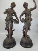 Pair of bronzed spelter figures by Francois Moreau with foundry stamp
