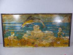 Vintage comical sign depicting Beer Beach, Devon. Approx 245cm x 122cm