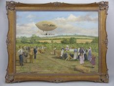 """CORRECTION; oil on canvas, a countryside scene with a suffragette theme. Includes a """"VOTES for"""