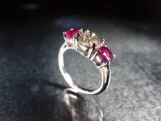 18ct white gold ruby and diamond three stone ring