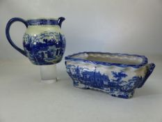 Two Ironstone Victoria Ware items - a planter with twin handles and a large pitcher. Both items