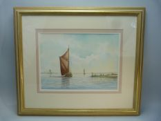 Framed watercolour of a sailing scene by ALAN WHITEHEAD, signed bottom right. Approx. 34cm x 24.5cm
