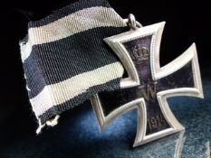 """Nazi Cross Medal on Black ribbon marked 1813 and 1914 with a central """"W"""""""