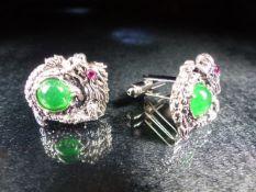 Pair of silver dragon style cufflinks set with Jadeite, cased