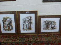Three watercolour and pen drawings by TED HOEFSLOOT (South African, 1930-2013), one A/F
