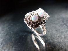 Silver, CZ and Opal panelled dress ring