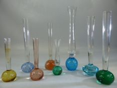 Collection of eight glass bud vases