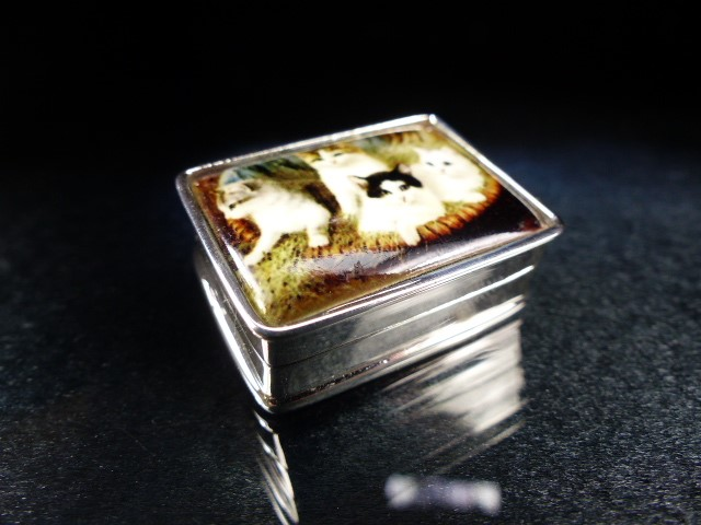 Lot 24 - Silver pill box with enamel lid depicting cats