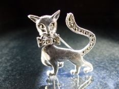 Silver and CZ brooch in the form of a cat set with marcasites