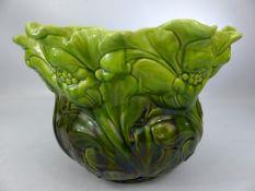 A green Bretby ceramic majolica jardiniere bowl marked to base BRETBY 1222K England R338766