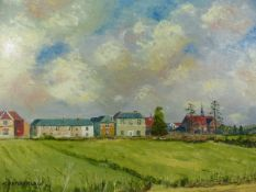 Oil on Canvas of a country scene signed lower left CHAMBERLAIN '90