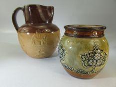 Royal Doulton Lambeth Harvest jug together with a Royal Doulton vase