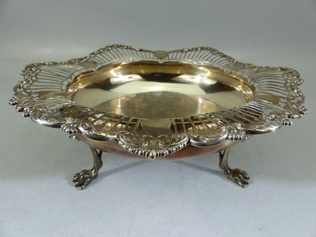 Lot 1 - Hallmarked Silver large bon bon dish or bowl, by Mappin & Webb on three claw feet (total weight
