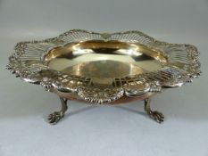 Hallmarked Silver large bon bon dish or bowl, by Mappin & Webb on three claw feet (total weight