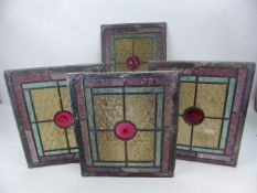 Four leaded stained glass windows