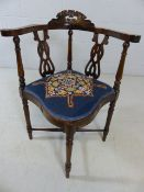 Corner chair with turned legs and cross stretcher with tapestry seat