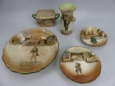 Five pieces of Royal Doulton Dickensware: Jony Weller; Barnaby Rudge x 2; Poor Jo; Dick Swiveller