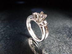 Two 14ct white gold diamond rings