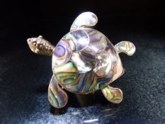 Tortoise Brooch set on 925 Silver the shell made from New Zealand Paua Shell