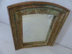 Substantial reclaimed oak surround mirror with aged green paint effect and decorative carvings