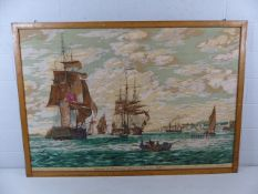 A large framed print on fabric depicting ' Indiamen at Gravesend ' with notation to base 'after