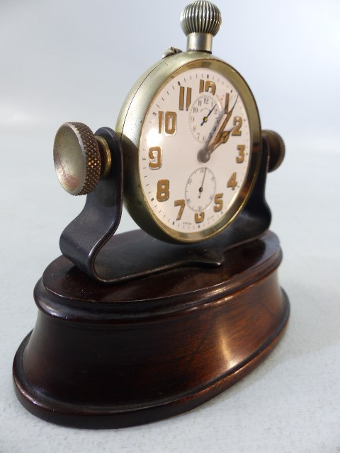 Lot 40 - Swiss Made Pocket watch with Alarm on Mahogany base (no glass) A/F