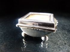 Hallmarked Silver Stamp box on four bun feet Birmingham 1901