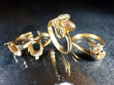 9ct Hallmarked scrap Gold rings, total weight approx 8.6g one stamped 10ct